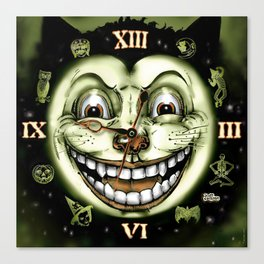 Black Cat 13 Halloween Clock Canvas Print