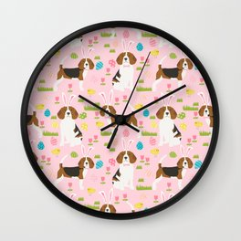 Beagle easter spring bunny eggs dog breed gifts for pure breed pet lover beagles Wall Clock
