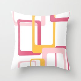 Retro rectangles pink and yellow Throw Pillow