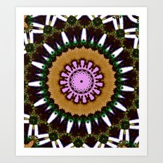 Lovely Healing Mandala  in Brilliant Colors: Black, Brown, Green, Beige, and Pink Art Print