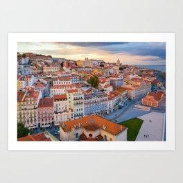Lisbon at Sunset Art Print