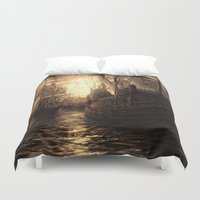 ships Duvet Covers featuring Ships Out to Sea by Madreflections