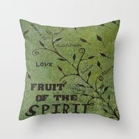 religious Throw Pillows featuring Faith Religious Art---Fruit of the Spirit---Bible Scripture Galations 5:22 by Saribelle rodriguez by Saribelle Inspirational Art
