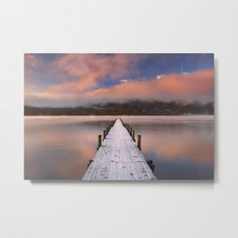 I - Jetty in Lake Chuzenji, Japan at sunrise in autumn Metal Print