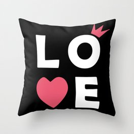 The word Love and heart Throw Pillow