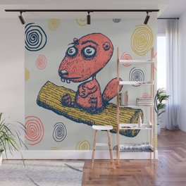 cute little beaver sitting on a log contemplating life Wall Mural