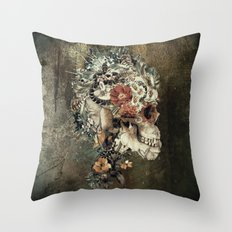 Skull on old grunge Throw Pillow