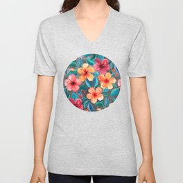 Colorful Watercolor Hibiscus on Dark Charcoal Unisex V-Neck