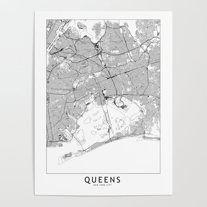 Queens White Map Poster