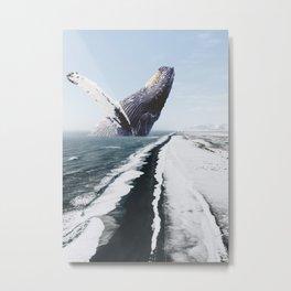 The Humpback Whale-Black Sand Beach in Iceland Metal Print