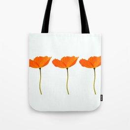Three Orange Poppy Flowers White Background #decor #society6 #buyart Tote Bag