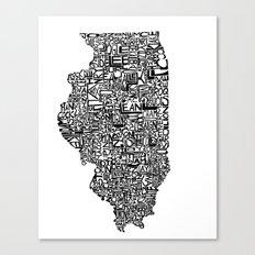 Typographic Illinois Canvas Print