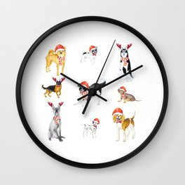 Watercolour Cute Funny Christmas Dogs Wall Clock