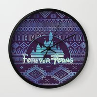 forever young Wall Clocks featuring forever young by Sara Eshak
