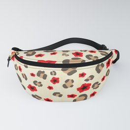 Romantic Leopard Print Pattern with Red Flowers Fanny Pack