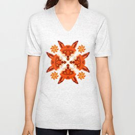 Fox Cross geometric pattern Unisex V-Neck
