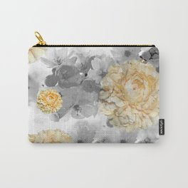 CHERRY BLOSSOMS AND YELLOW ROSES GRAY and WHITE Carry-All Pouch