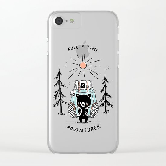 Adventure Bear Clear iPhone Case