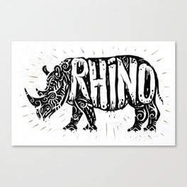 Rhino in tribal style Canvas Print