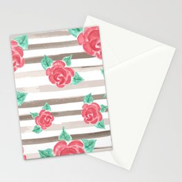 Stripes and Roses // Watercolor Stationery Cards