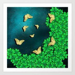 clover and butterflies Art Print