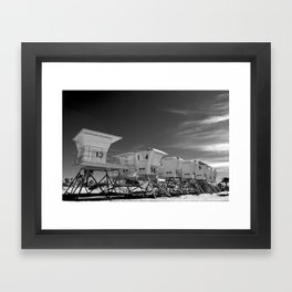 BEACH - California Beach Towers - Monochrome Framed Art Print