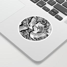 Stylish Swans in Monochrome Black and White Sticker