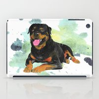 rottweiler iPad Cases featuring Rottweiler happy by Cami Landia