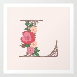"""Rose Gold Floral Letter """"L"""" Art Print"""