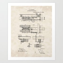 Automatic Car Brake Vintage Patent Hand Drawing Art Print