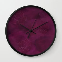 Tonal Burgundy Roses Wall Clock