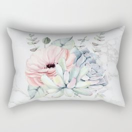 Pretty Succulents on Marble Watercolor by Nature Magick Rectangular Pillow