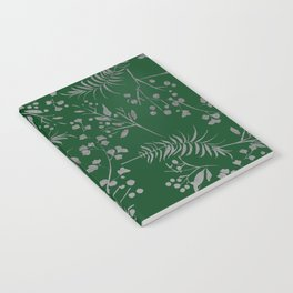 Forest green country chic faux silver floral leaves Notebook
