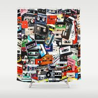 old school Shower Curtains featuring Old School by Spotted Heart