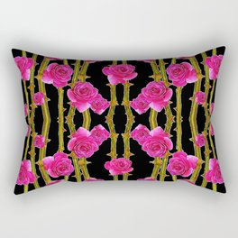 "FUCHSIA PINK ""ROSES & THORNS""  BLACK ART PATTERNS Rectangular Pillow"