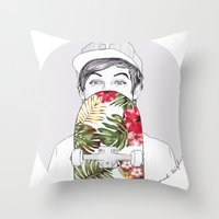 coconutwishes Throw Pillows featuring L Skate by Coconut Wishes