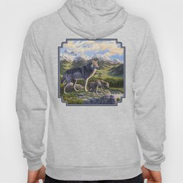 Mother Gray Wolf and Pups River Valley Hoody