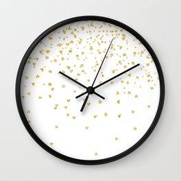 Falling hearts gold glitter confetti - Heart Love Valentine Wall Clock