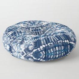 Blue Tie-Dye Spiral Stripe Floor Pillow