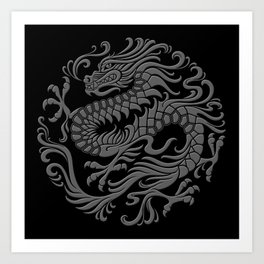 Traditional Gray and Black Chinese Dragon Circle Art Print