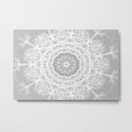 Gray Ice Star Mandala Metal Print