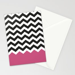 Chevron Bicolor and Magenta Stationery Cards