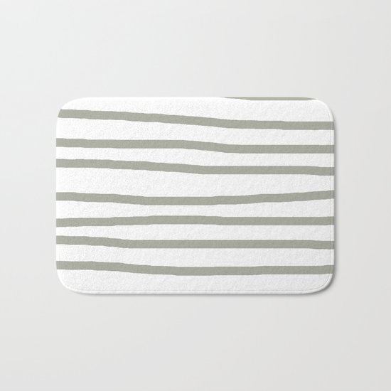 Simply Drawn Stripes Retro Gray on White Bath Mat