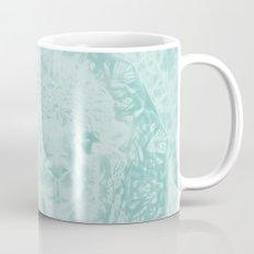 Happy Ghostly alpaca and mandala in Limpet Shell Blue Mug