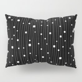 Squares and Vertical Stripes - Black and White - Hanging Pillow Sham