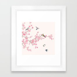 Birds and cherry blossoms Framed Art Print