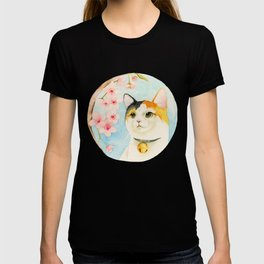 """Hanami"" - Calico Cat and Cherry Blossom T-shirt"