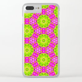 Kaleidoscope Of Pink Daises Clear iPhone Case