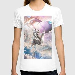 Galaxy Astronaut Sloth Riding Llama Unicorn T-shirt