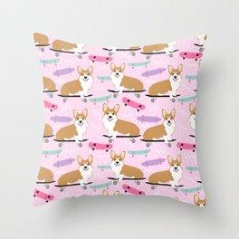 corgi skateboard dog, dog - corgi, corgi blanket,corgi decor, corgis, cute dog Throw Pillow